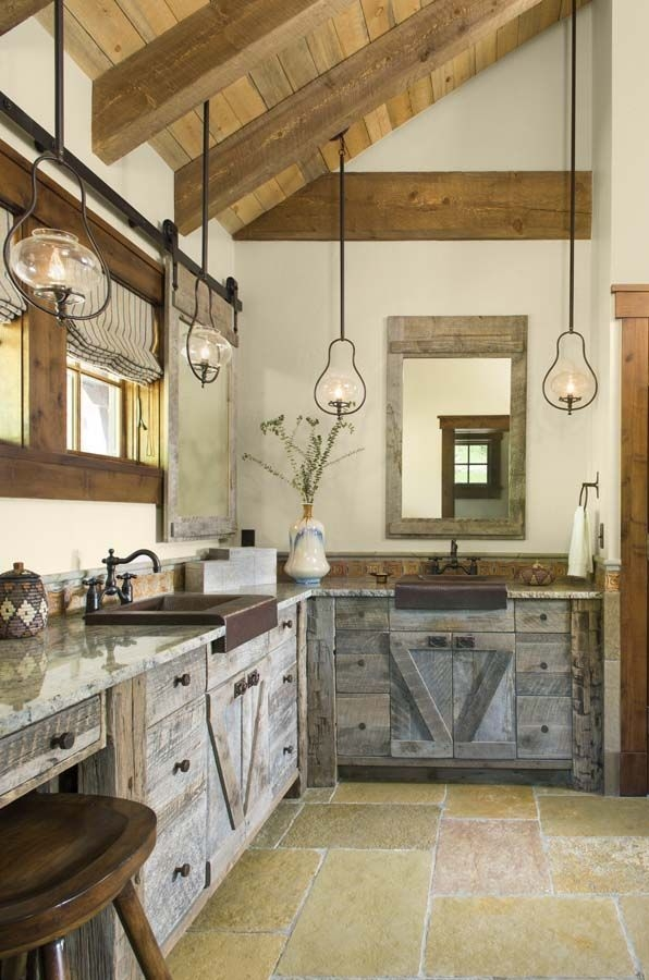 1 Kindesign'S Top 25 Most Repinned Bathrooms Of 2015  Rustic Kitchen Rustic Kitchen Cabinets