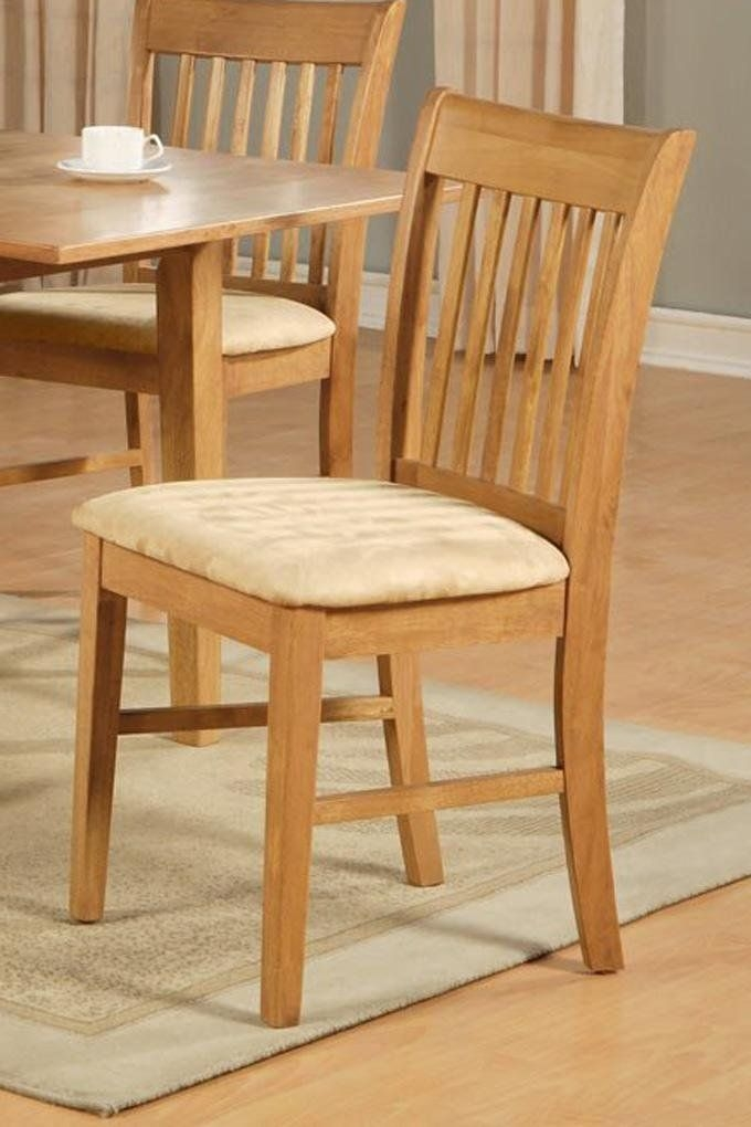 1 Norfolk Dinette Kitchen Dining Chair With Cushion Seat In Light Oak Finish Sku Nfcoakc