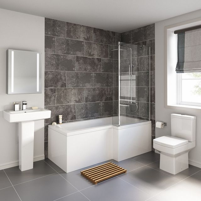 1700X850Mm Belfort Shower Bath Suite  L Shaped Right Handed  Contemporary  Bathroom  West