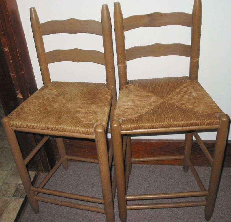 2 Vintage Square Low Back Wood Rush Cane Wicker Stencil Kitchen Bar Stool Chairs