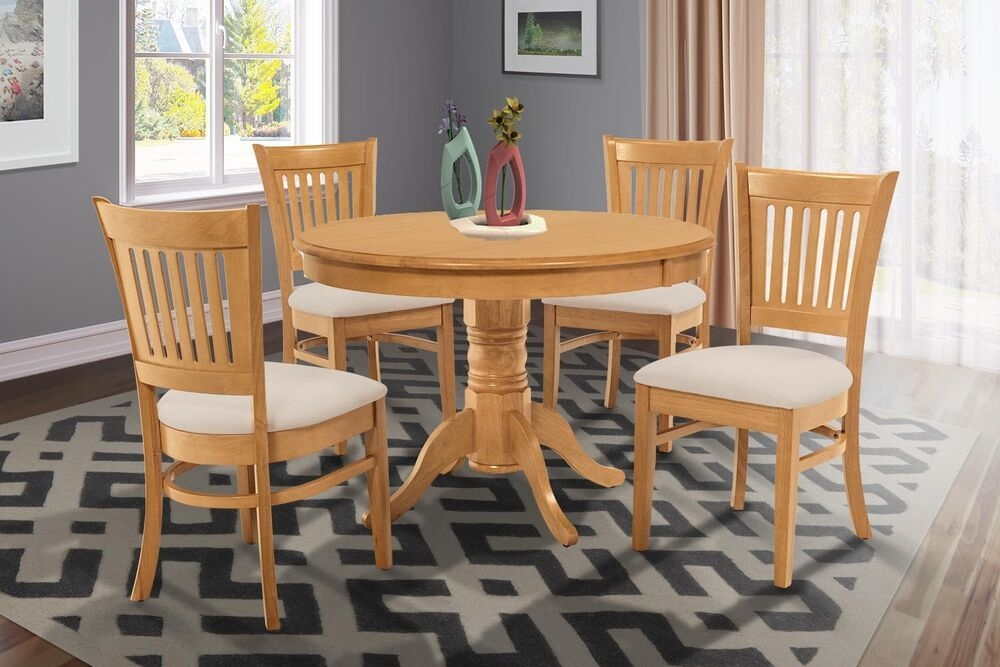 "36"" Round Table Dinette Kitchen Dining Room Chair Set In Oak Finish  Ebay"