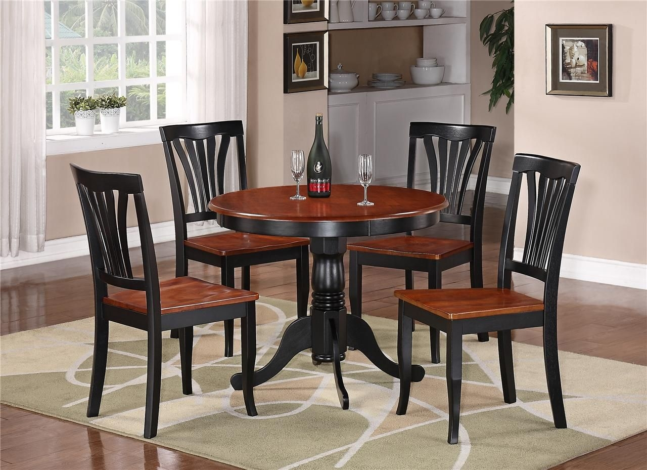 3Pc Round Table Dinette Kitchen Table  2 Chairs Black  Saddle Brown