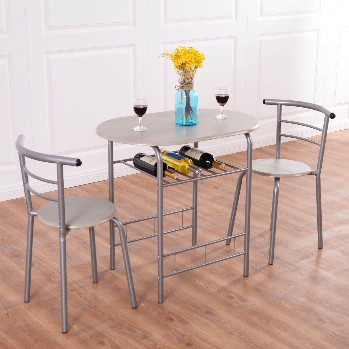 3Pcs Bistro Dining Set Small Kitchen Indoor Outdoor Table Chairs Patio Furniture