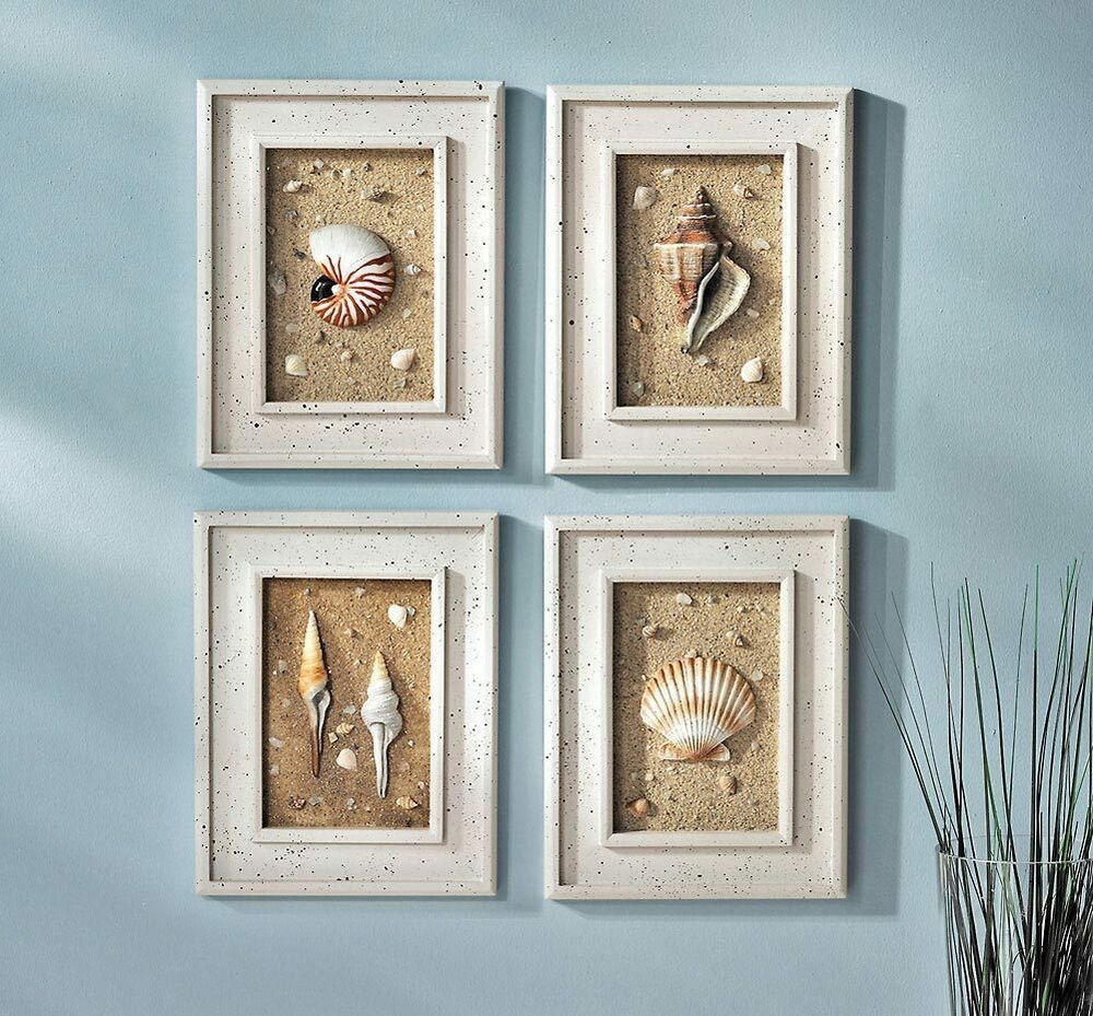4Pc Framed Seashells Coastal Beach Wall Art Seaside Lighthouse Nautical Decor  Ebay
