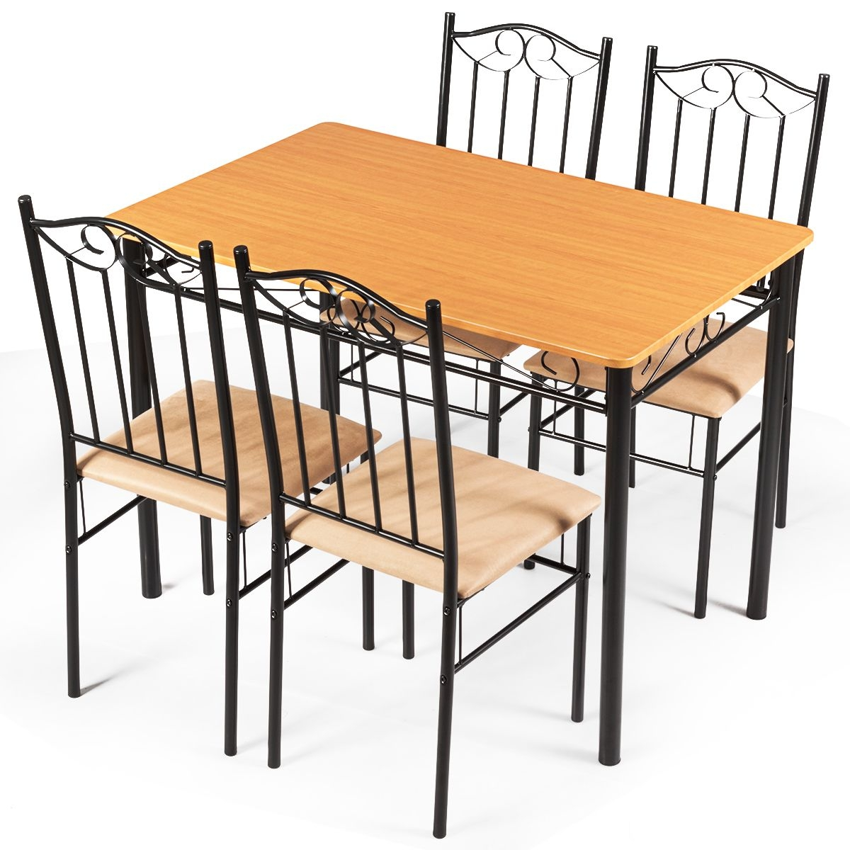 5 Pc Dining Set Wood Metal Table And 4 Chairs Kitchen Breakfast Furniture New  Walmart Canada