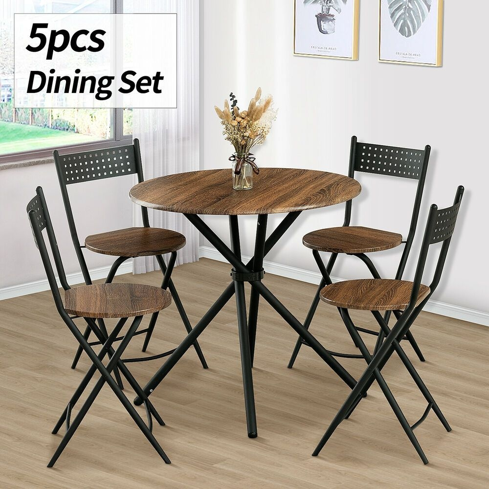 5 Piece Dining Table Set 4 Chairs Wood Kitchen Dinette Room Breakfast Furniture  Ebay
