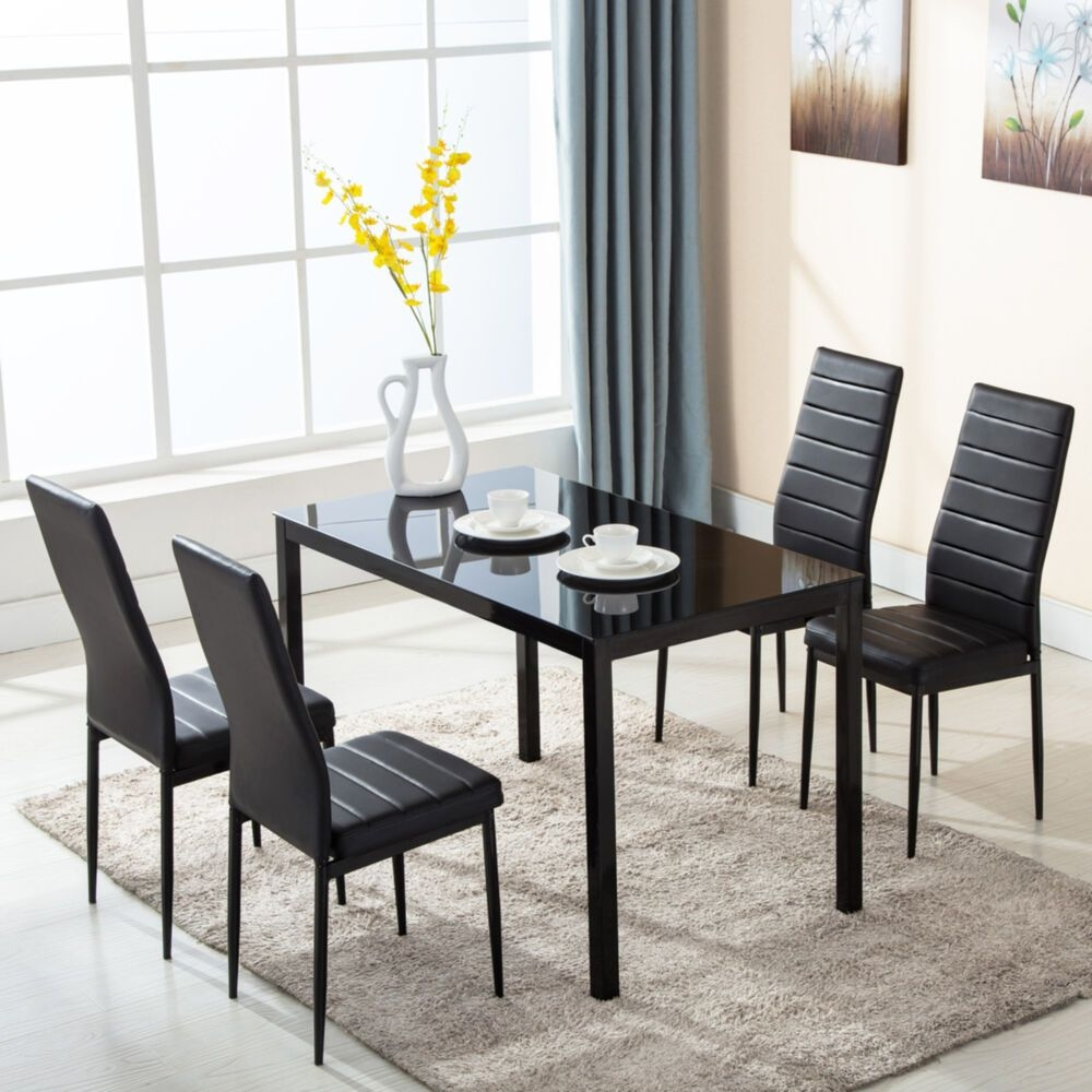 5 Piece Glass Metal Dining Table Furniture Set 4 Chairs Breakfast Kitchen Room  Ebay