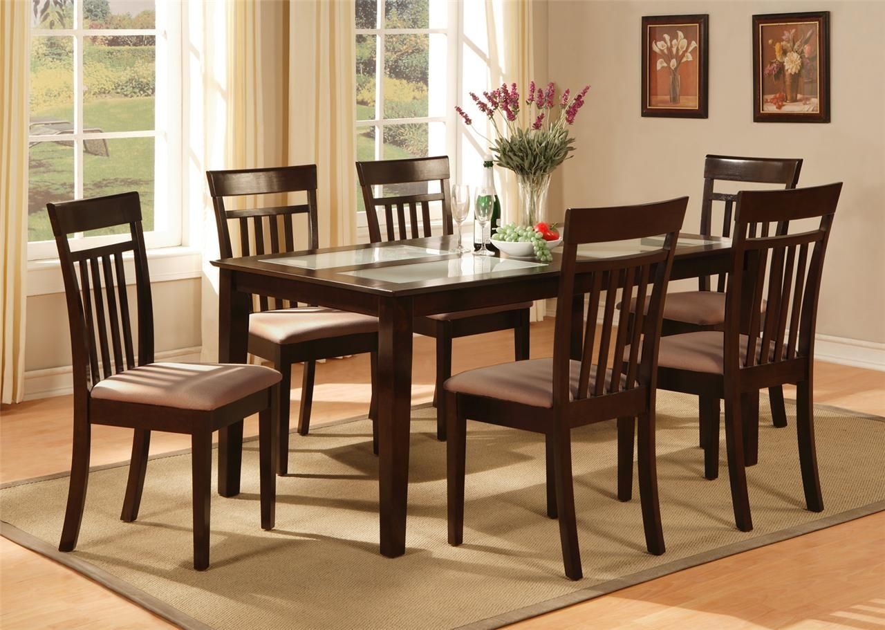 5Pc Rectangular Dinette Kitchen Dining Table W 4 Padded Chairs In Cappuccino  Ebay