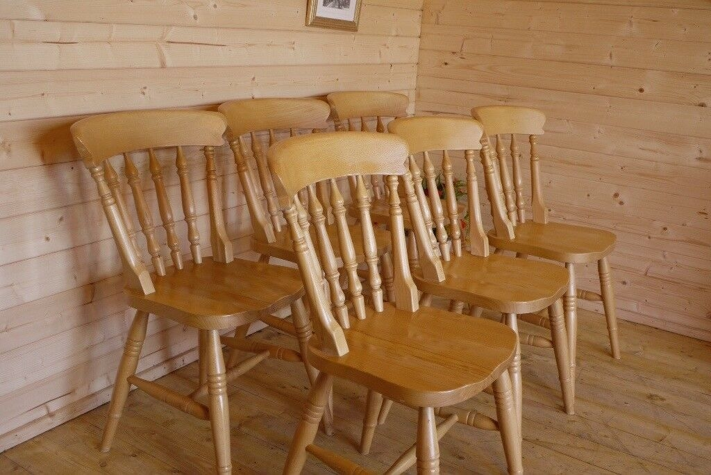 6 Solid Sturdy Beech  Pine Wood Wooden Dining Kitchen Chairs  In Selby North Yorkshire  Gumtree