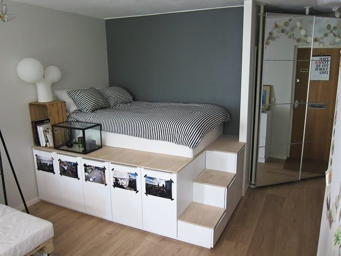 6 Ways To Hack A Platform Storage Bed From Ikea Products  Diy  Diy Platform Bed Platform
