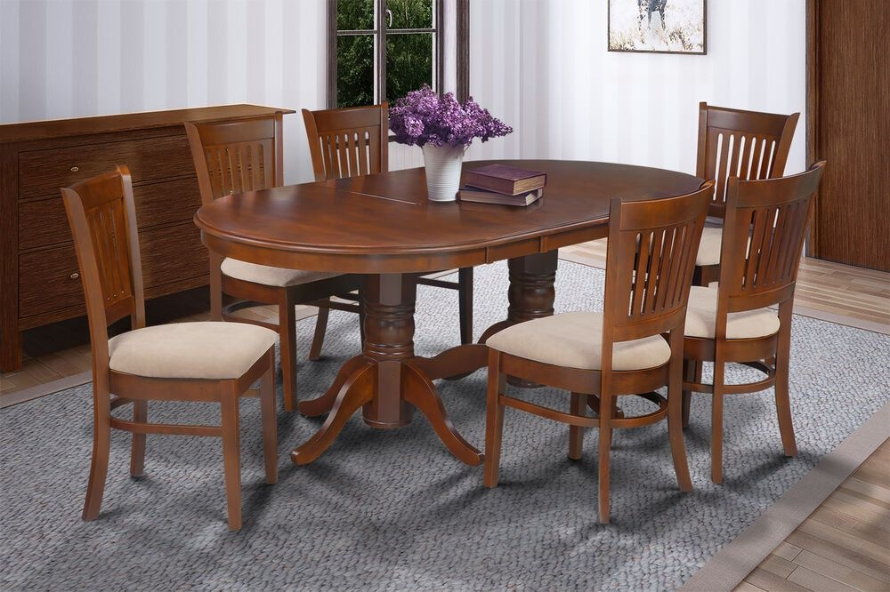 "7 Pc Oval Dinette Kitchen Dining Room Set 42""X78"" Table  6 Padded Seat Chairs  Ebay"