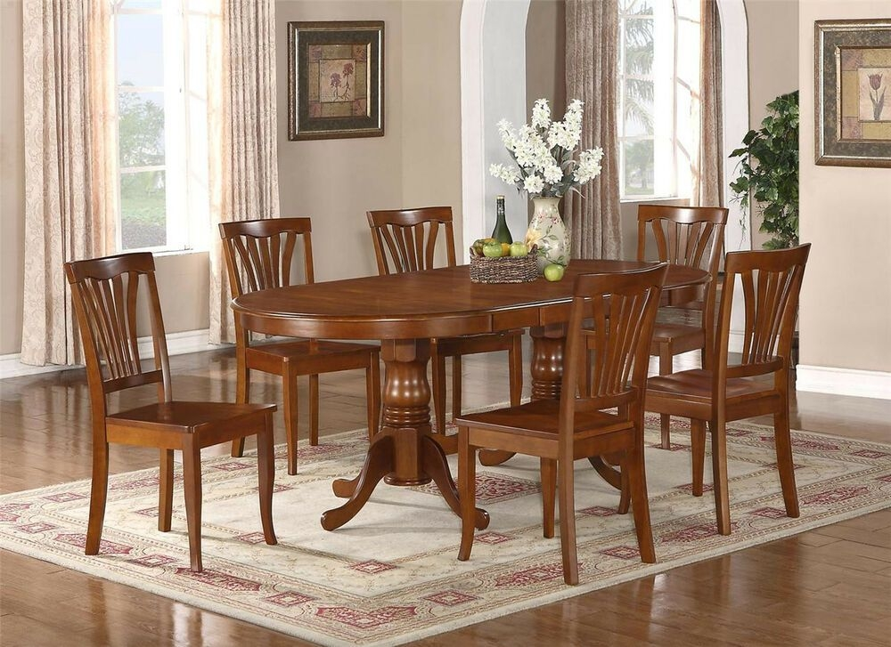 7Pc Oval Dinette Kitchen Dining Set Table W 6 Wood Seat Chairs In Saddle Brown  Ebay