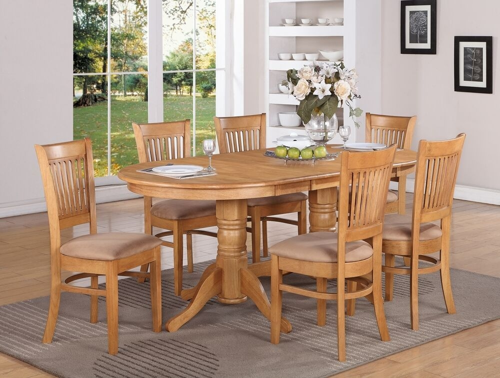 7Pc Vancouver Oval Dinette Kitchen Dining Table W6 Upholstery Chairs In Oak  Ebay
