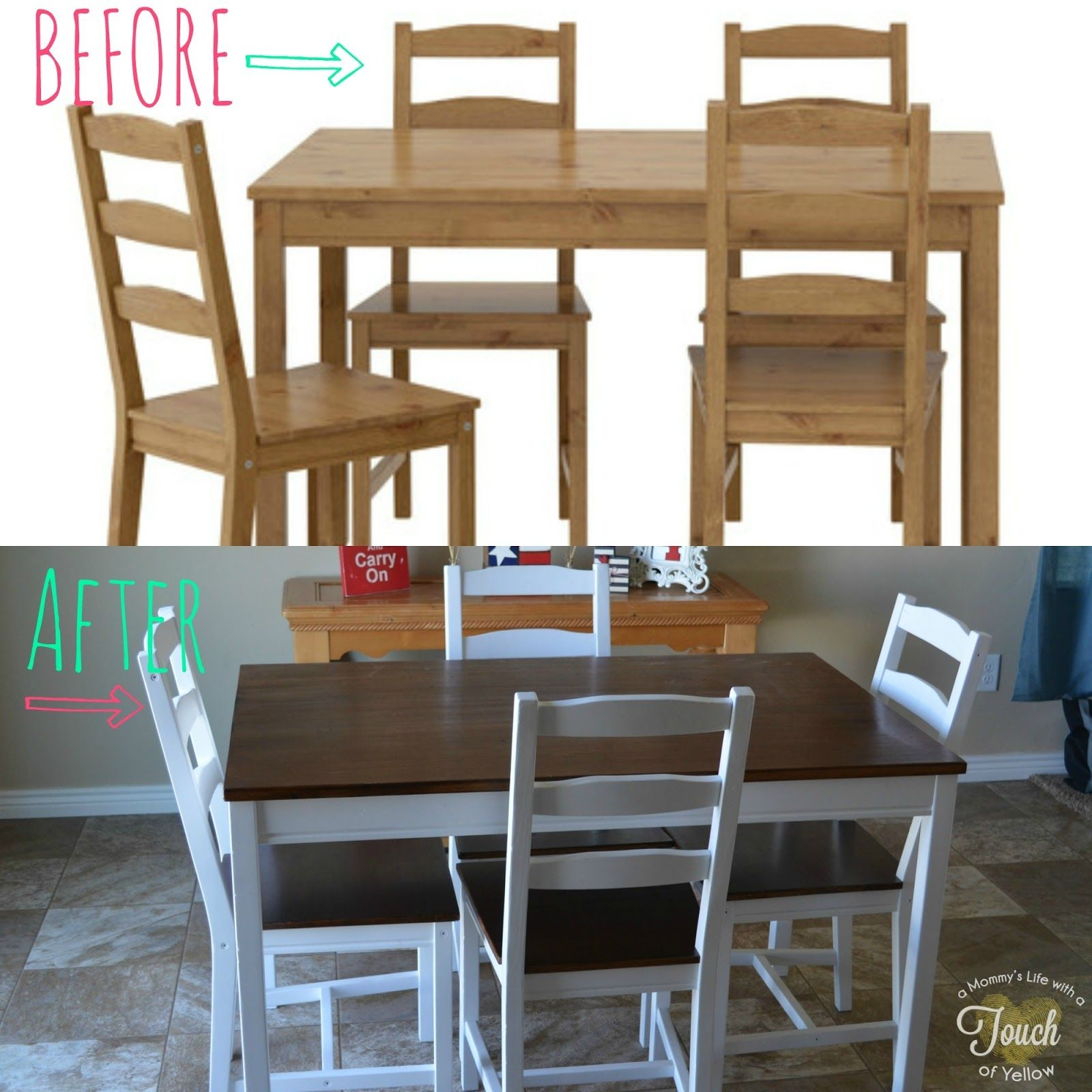 A Mommy'S Lifewith A Touch Of Yellow Ikea Kitchen Table Makeover Tutorial