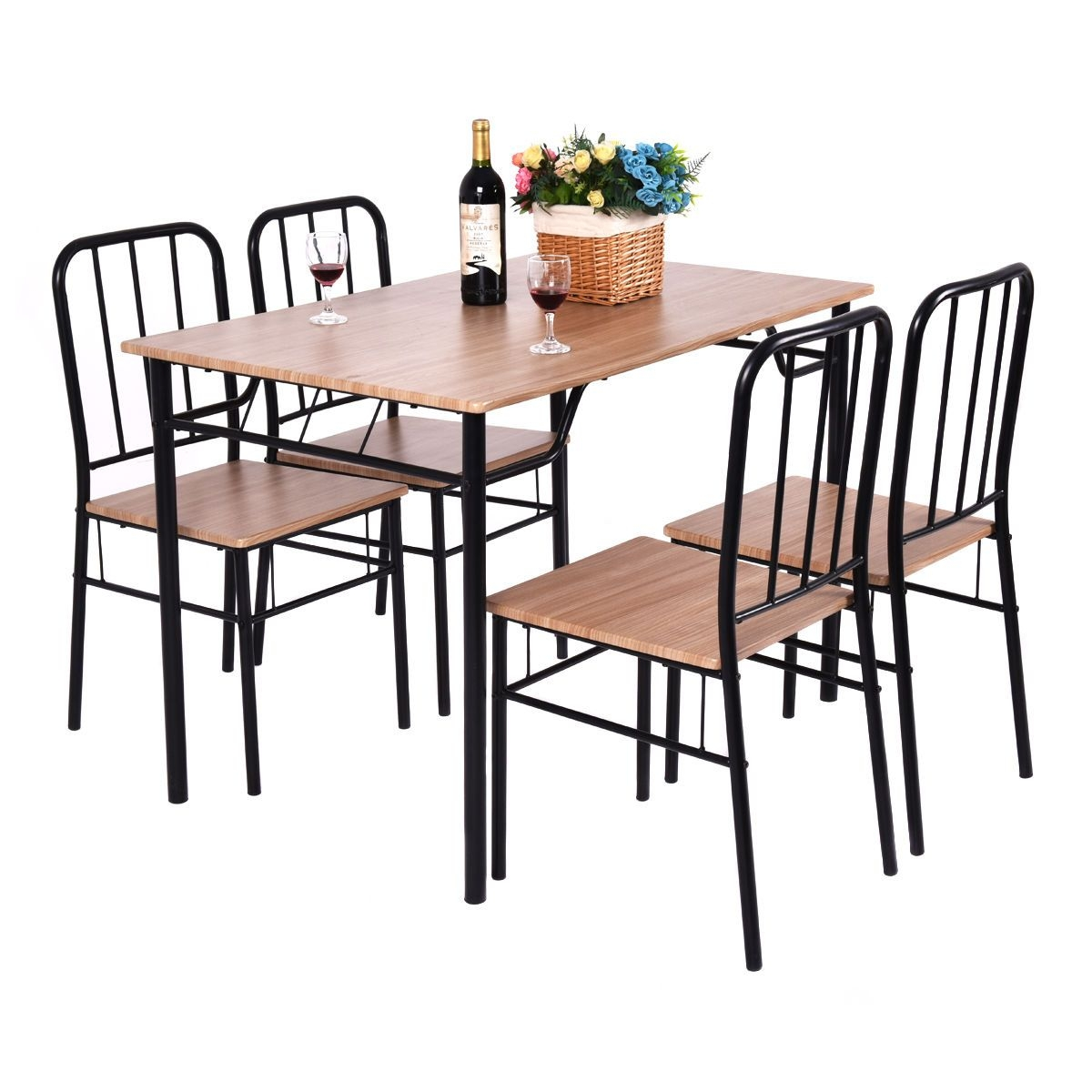 Aliexpress  Buy Giantex 5 Piece Dining Set Table And 4 Chairs Metal Wood Home Modern