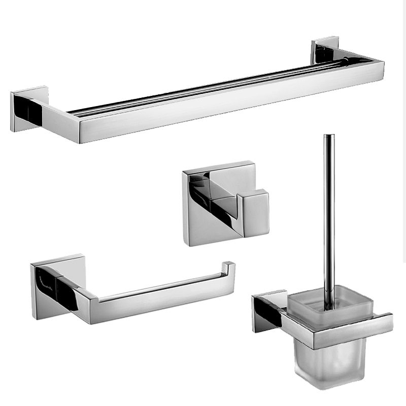 Aliexpress  Buy Modern Silver 304 Stainless Steel Bathroom Accessories Sets Square Base