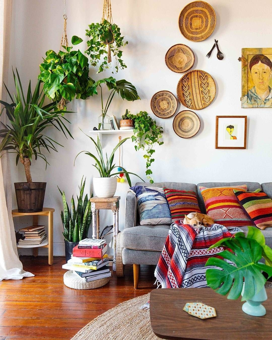 Amazing Boho Living Space With Global Textiles Lots Of Greenery And Woven Baskets As Wall Art