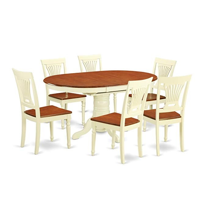 Amazon Kepl7Whiw 7 Pc Dining Setoval Table With Leaf And 6 Dining Chairs Kitchen