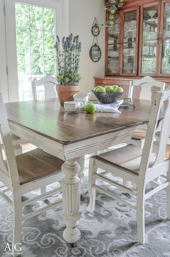Antique Dining Table Updated With Chalk Paint  Antique Dining Tables Diy Dining Room Table