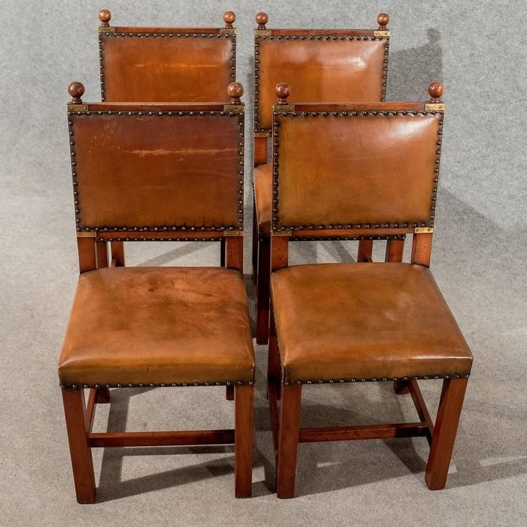 Antique Oak And Leather Set Four Dining Kitchen Chairs Comfy And Quality At 1Stdibs