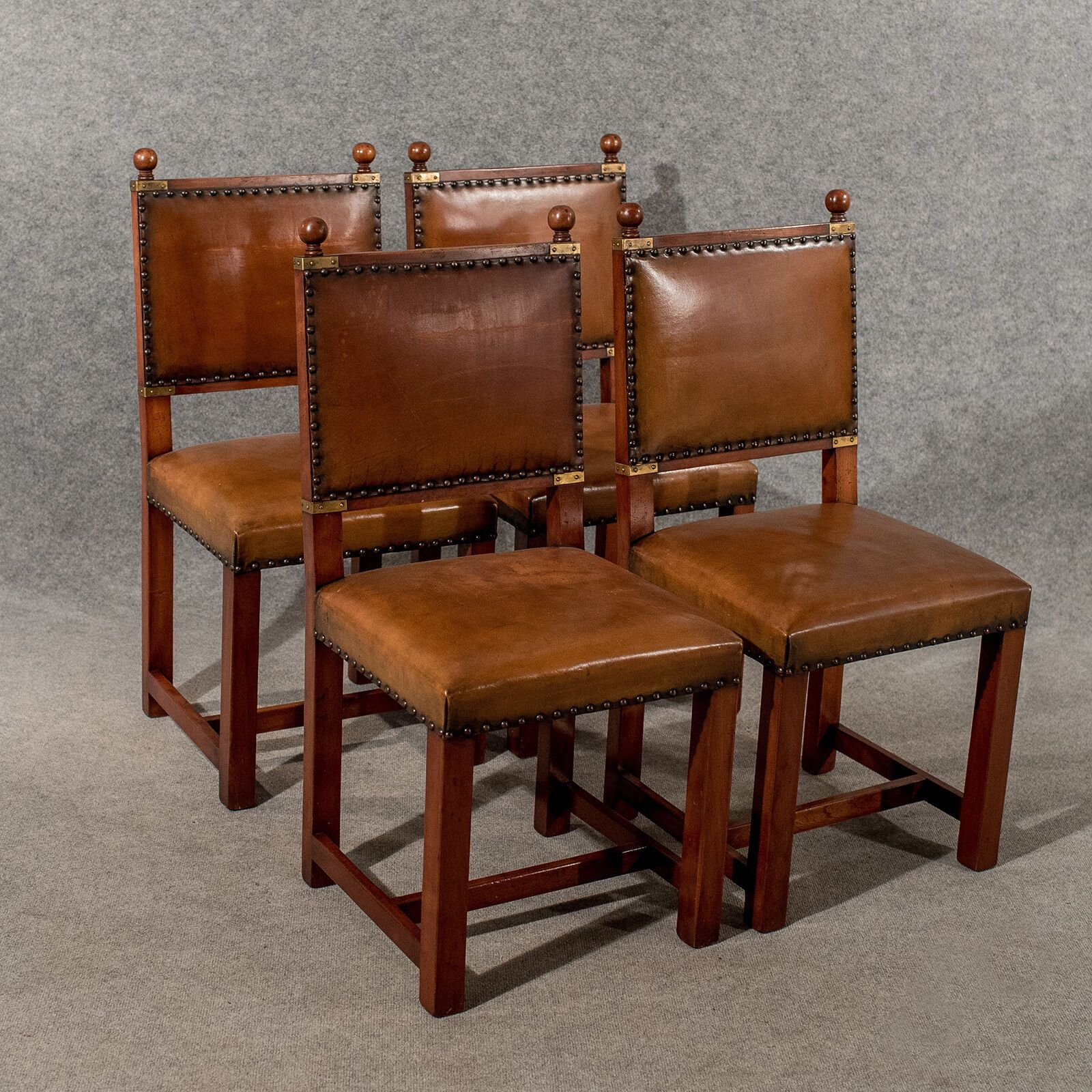 Antique Oak  Leather Set 4 Four Dining Kitchen Chairs Comfy  Quality Mid20Thc  Ebay