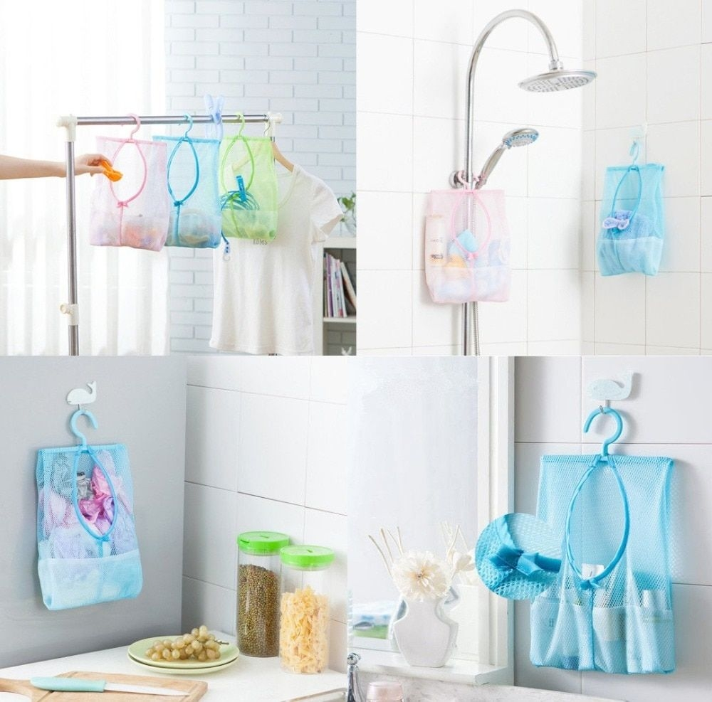 Bath Toy Organizer Bathroom Shower Storage Organizer Set Hamper Bag Closet Rack Clothes Clip