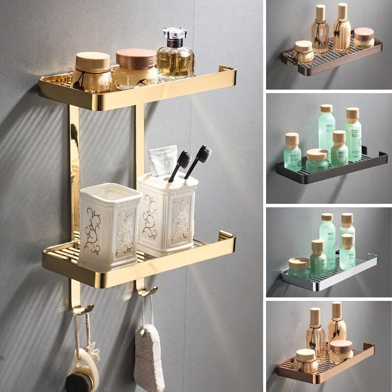 Bathroom Hardware Sets Bathroom Accesssories Corner Storage Holder Shelves Copper Gold Plated