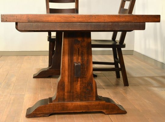Beacon Falls Rough Sawn Trestle Table  Countryside Amish Furniture
