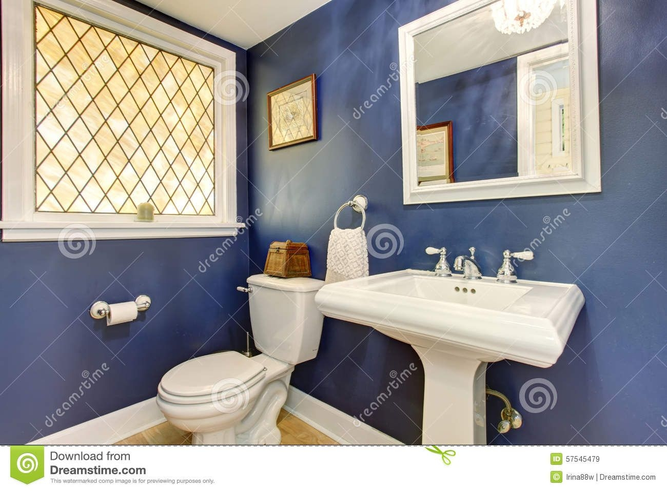 Brilliant Bathroom With Deep Blue Interior Walls Stock Image  Image Of Project Brown 57545479