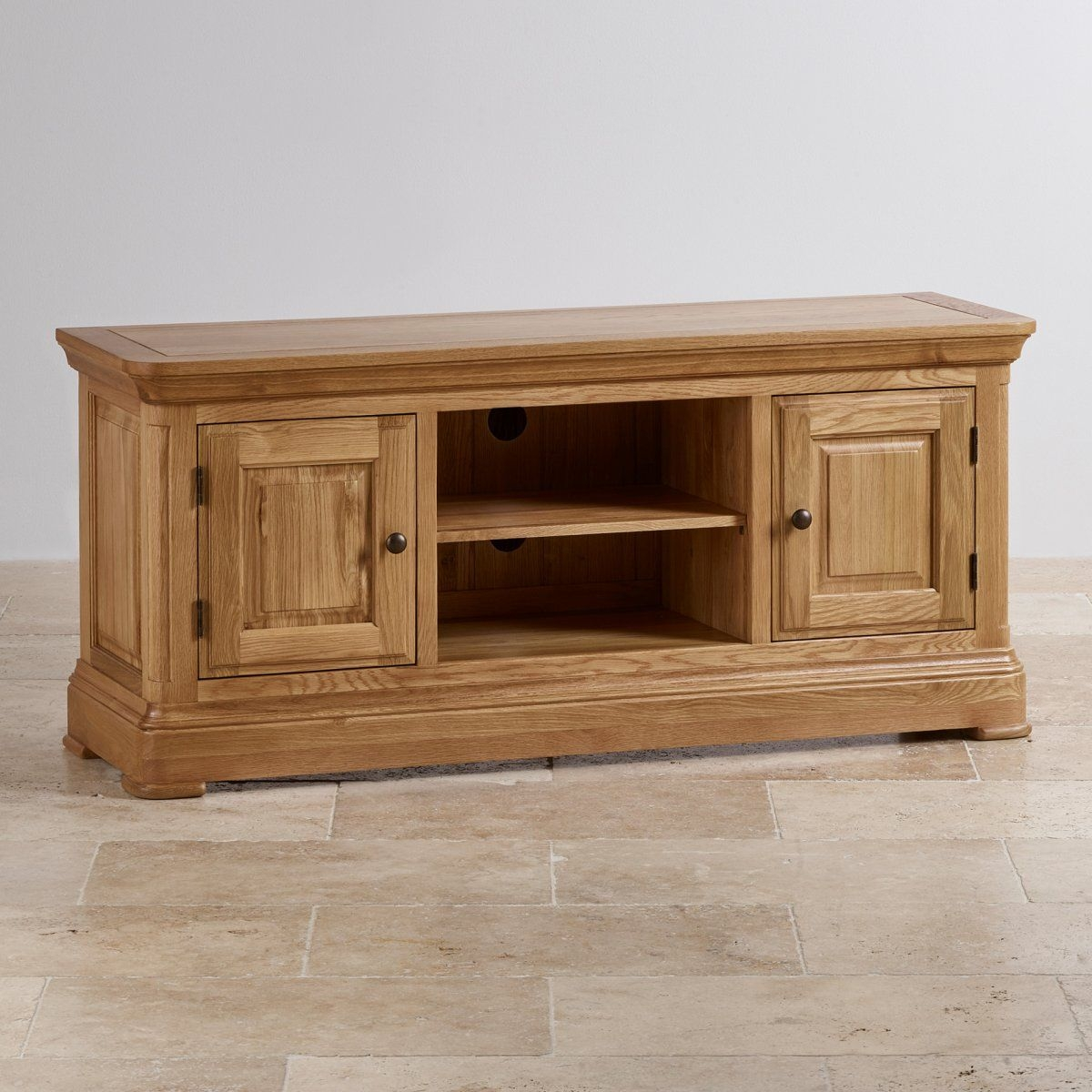 Canterbury Large Tv Cabinet  Solid Oak  Oak Furniture Land
