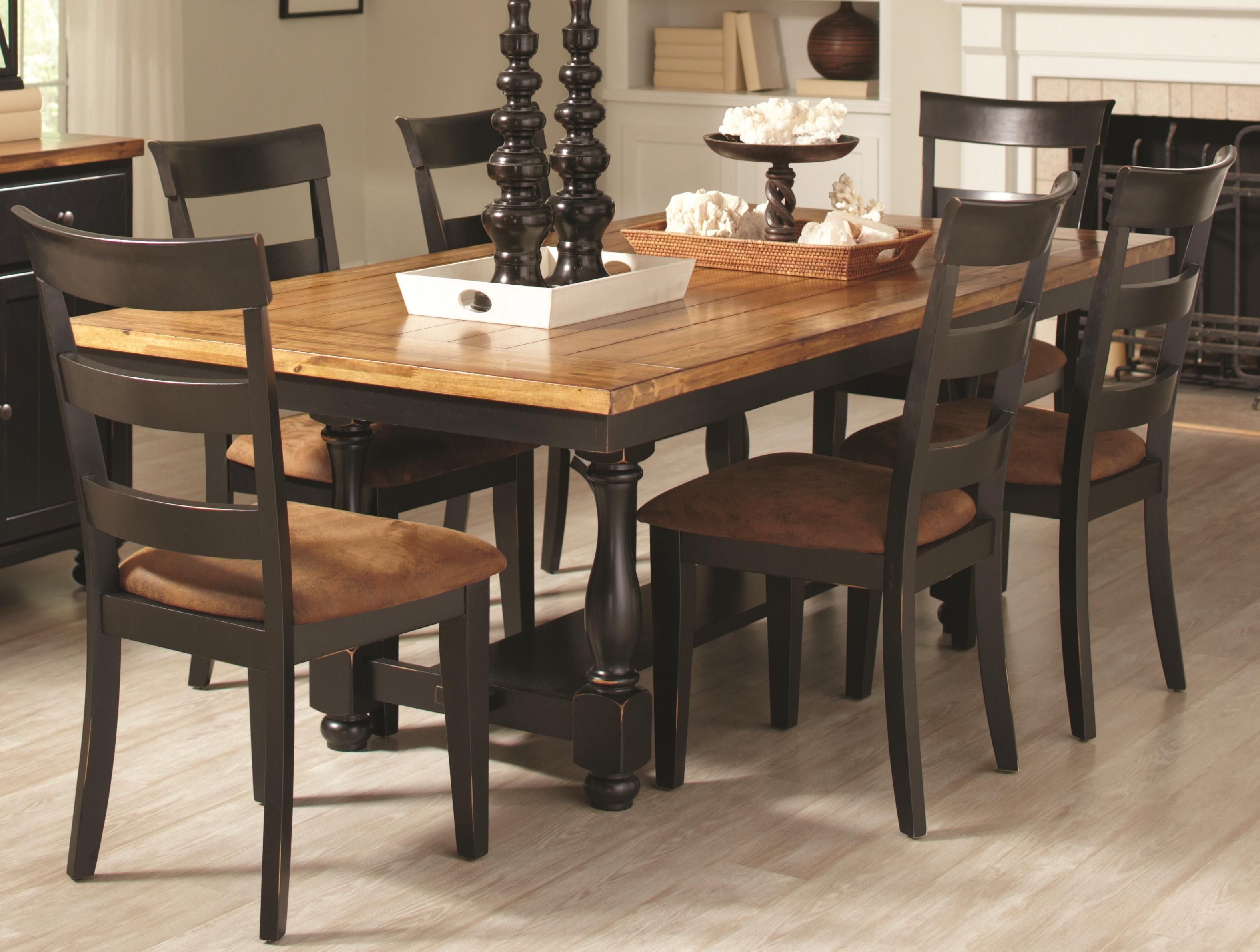 Charlotte 7 Piece Dining Set With Rectangular Table And Ladder Back Chairs  Quality Furniture
