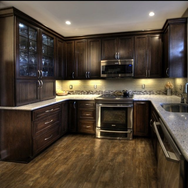 Cherry Cabinets With A Mocha Finish Kashmir White Granite And Ulvio Woodlook Tile  Kitchen