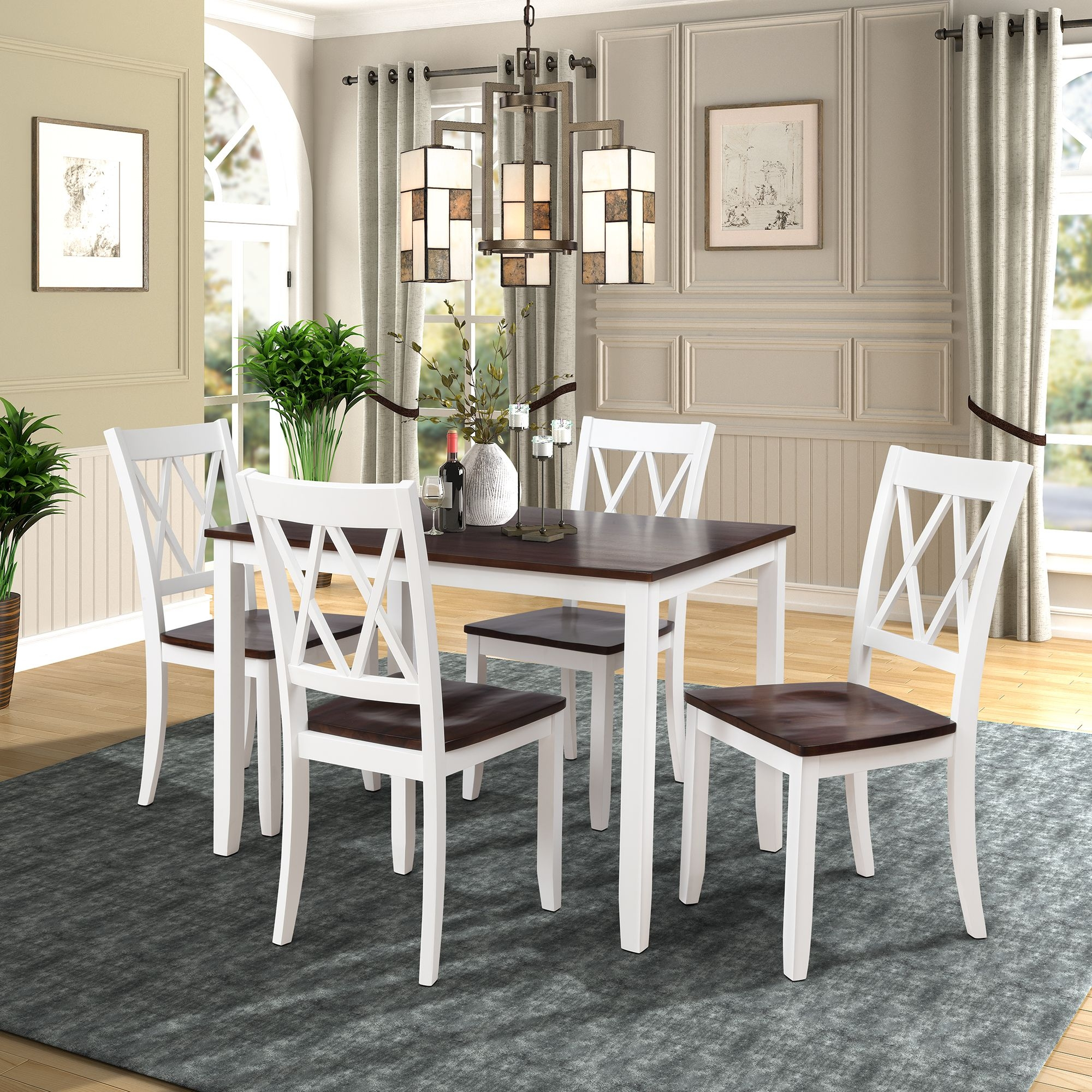 Clearance5 Piece Dining Table Set Modern Kitchen Table Sets With Dining Chairs For 4 White