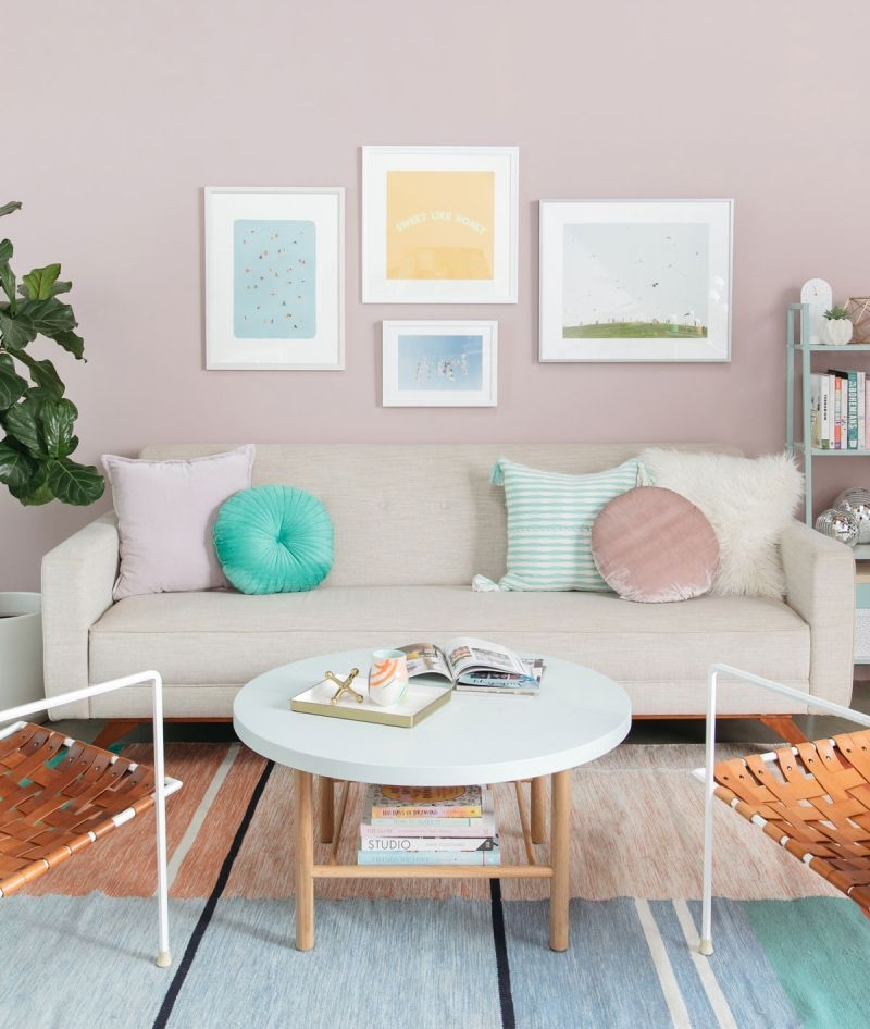 Color Adventures A Pastel Living Room  Via Oh Joy  Modern Furniture Living Room Pastel