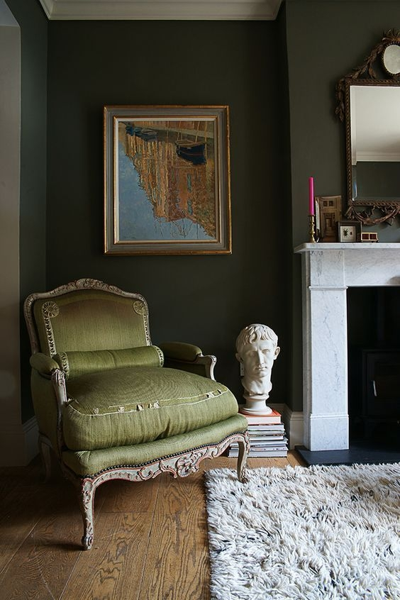 Color On Trend – Deep Mossy Olive Green  Olive Green Rooms Living Room Green Olive Green Bedrooms
