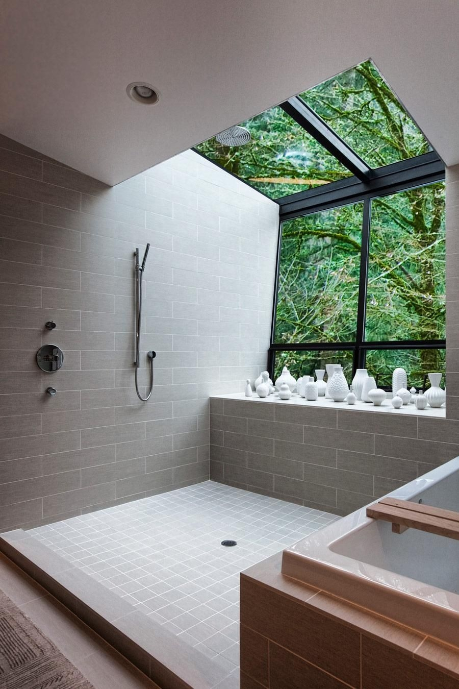 Contemporary Bath And Shower With An Amazing View Of The Outdoors In This Home Located I