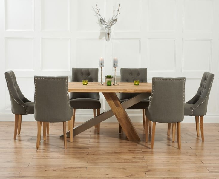 Contemporary Kitchen Magnificent Dining Table And Fabric Chairs Ridley Oak Amp Stainless Steel