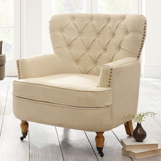 Cream Collette Button Back Armchair  Dunelm With Images  Traditional Living Room Furniture