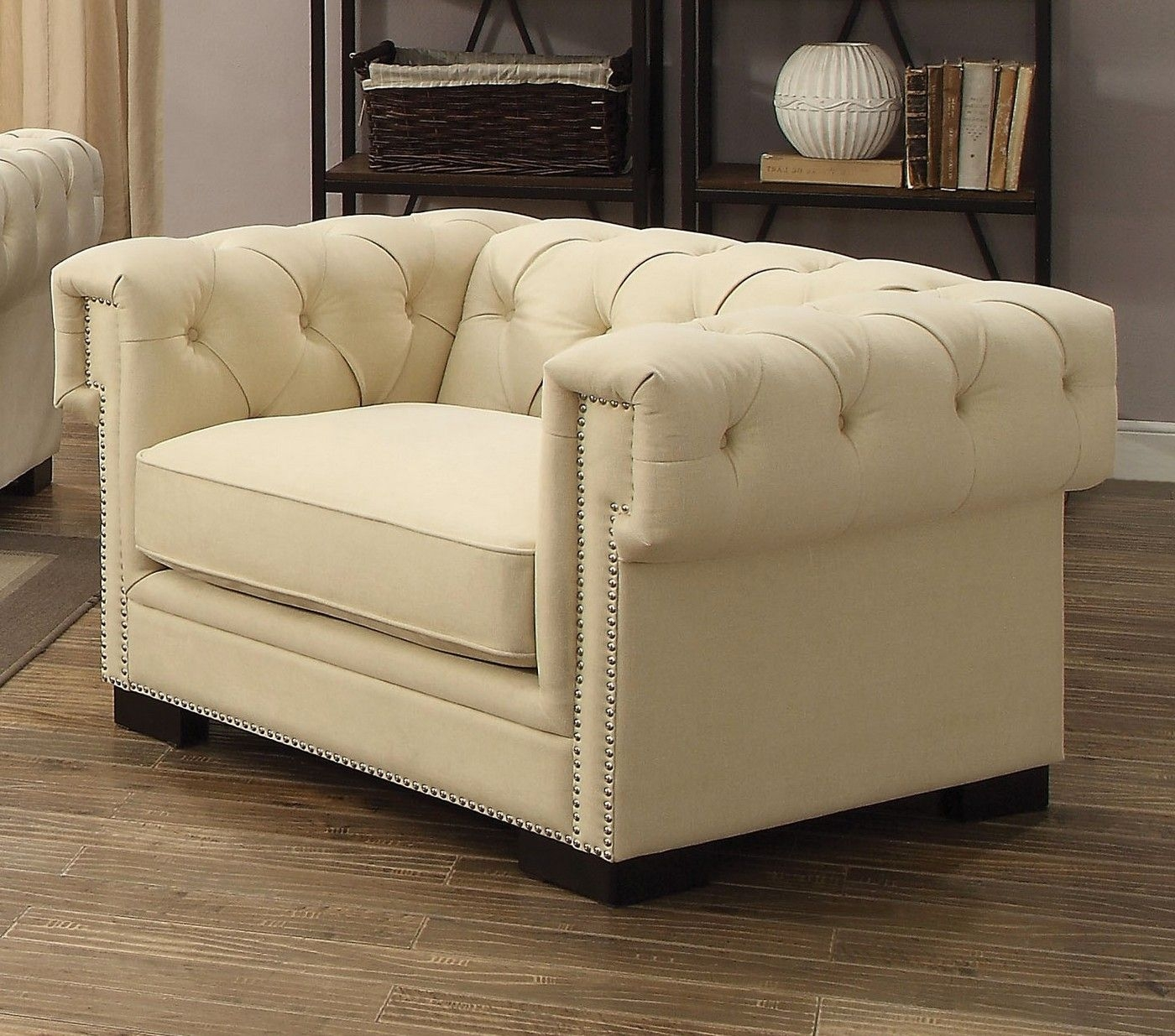 Creme Tufted Sofa Set In Sophisticated Cream Velvet With 8Way Suspension