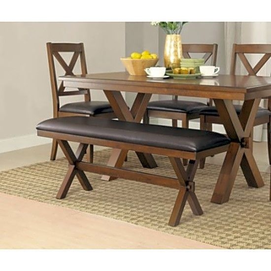 Crossing Dining Bench Wooden Kitchen Espresso 2 Seat Padded Cushions Furniture – Common Shopping