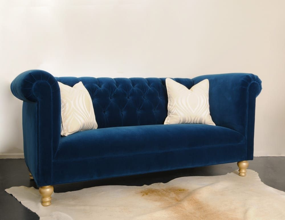Custom Cobalt Blue Velvet Tufted Sofa  Yelp