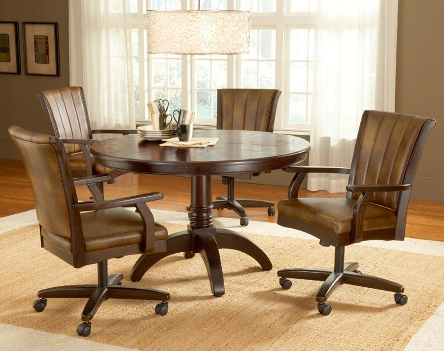 Dining Chairs With Casters Swivel Enter Home  Round Dining Room Sets Dining Room Sets Round