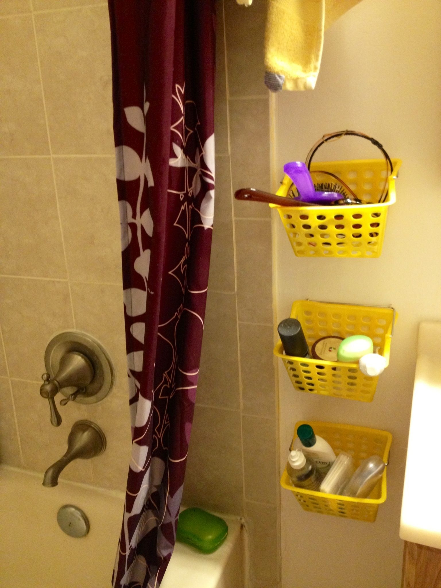 Diy Storage For Tiny Bathroom Using Dollar Store Baskets And Hooks Diy Storage  Diy Storage