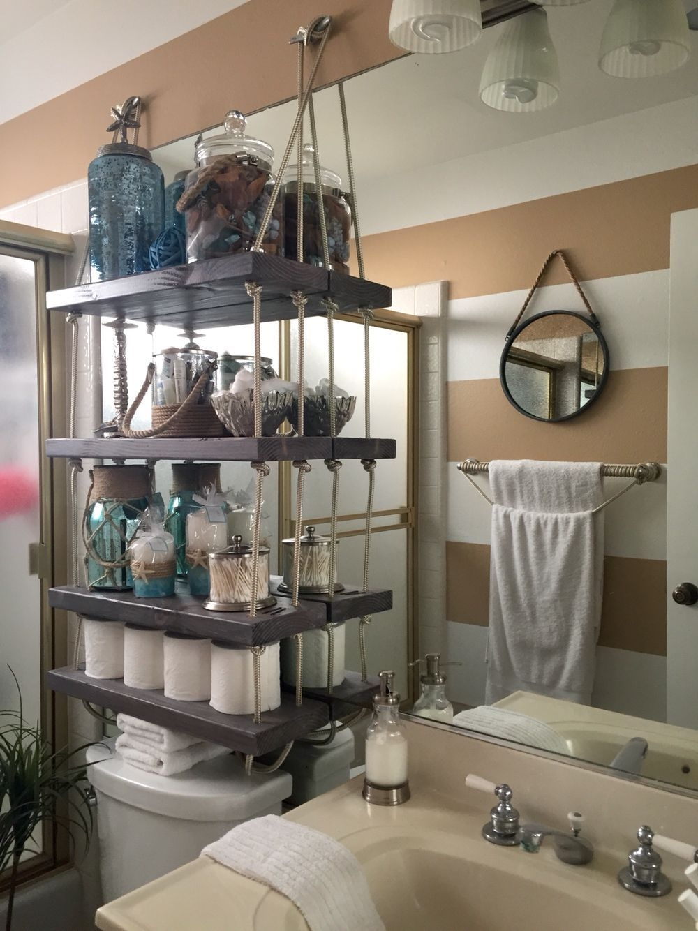 Diy Suspension Rope Shelves For Beach Bathroom  Rope Shelves Home Decor Beach Bathrooms