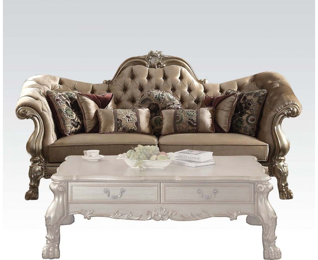 Dresden Victorian Tufted Sofa In Champagne Velvet  Gold Patina Carved Wood