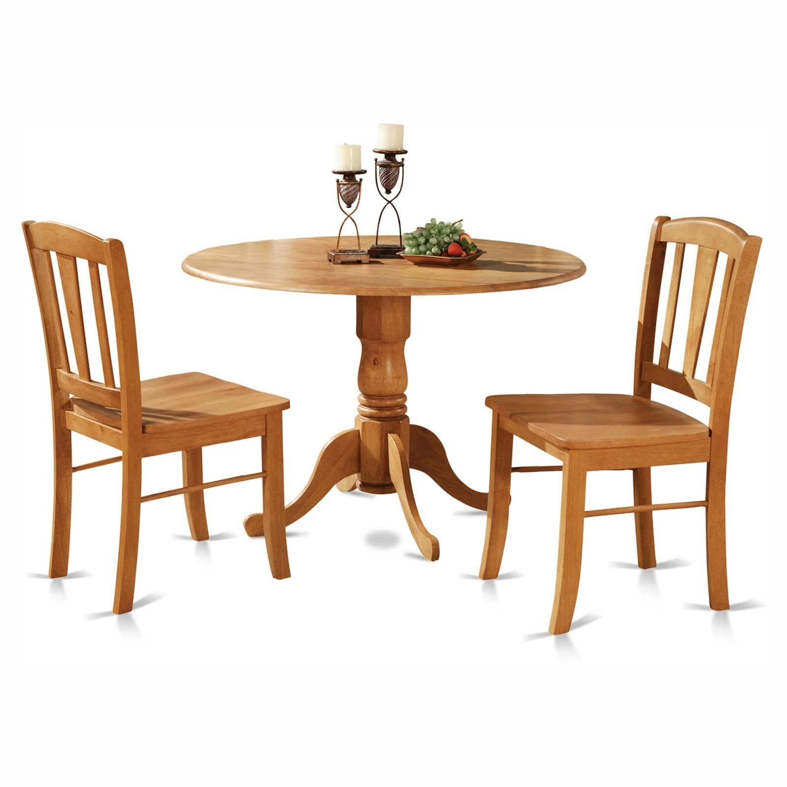 East West Furniture Dublin 3 Piece Drop Leaf Dining Table Set  Dining Table Sets At Hayneedle
