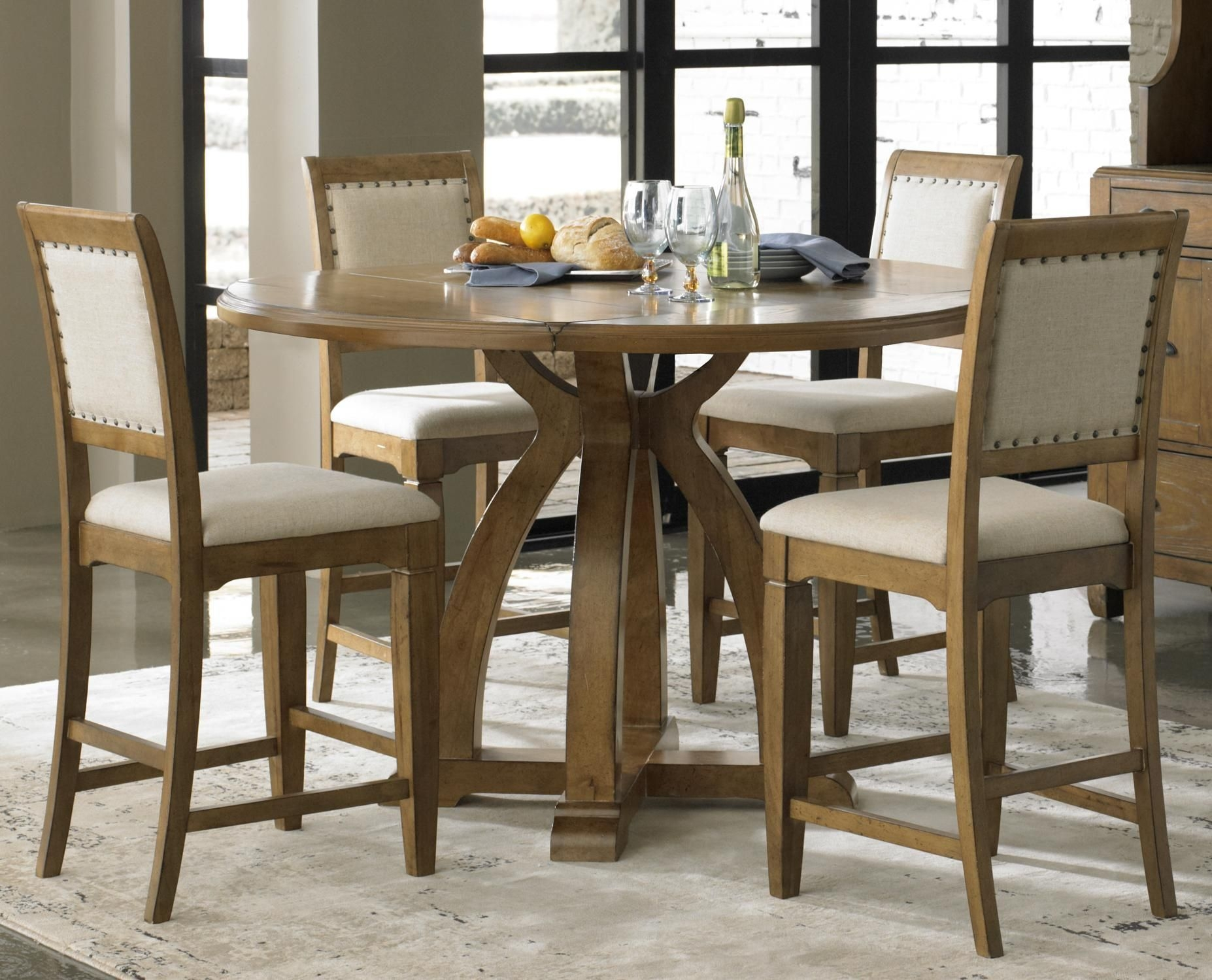 Eatin Hightop Idea 5Piece Gathering Table Set With 4 Upholstered Counter Height Chairs