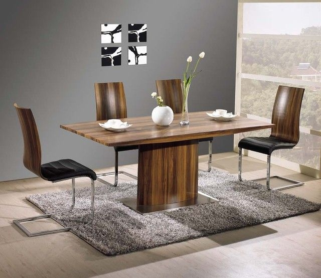 Exquisite Rectangular Wood And Leather Dinner Furniture Set  Contemporary  Dining Tables  New
