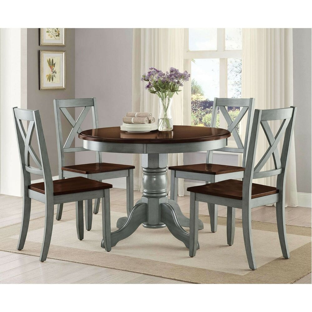 Farmhouse Dining Table Set Rustic Round Dining Room Kitchen Tables And Chairs  Ebay