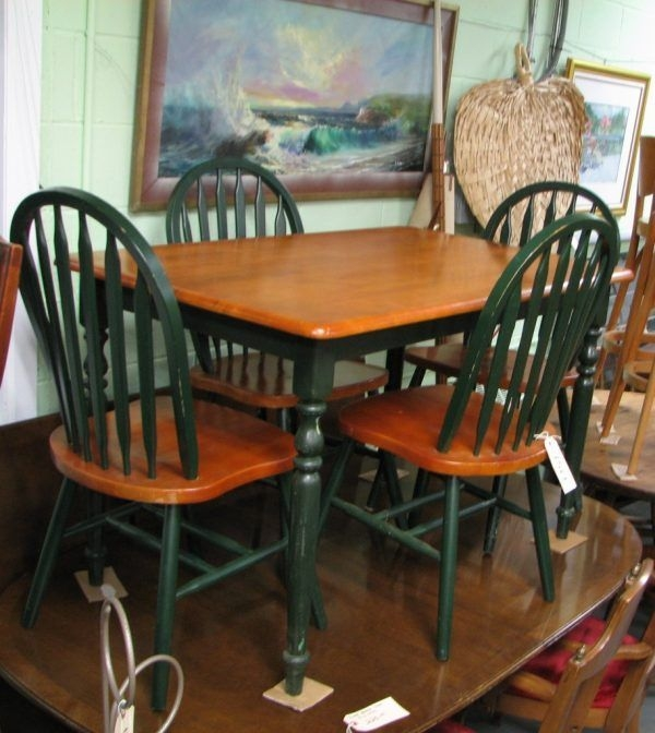 Fascinating Country Kitchen Table And Chairs With Dark Green Color For Oak Windsor Country Style